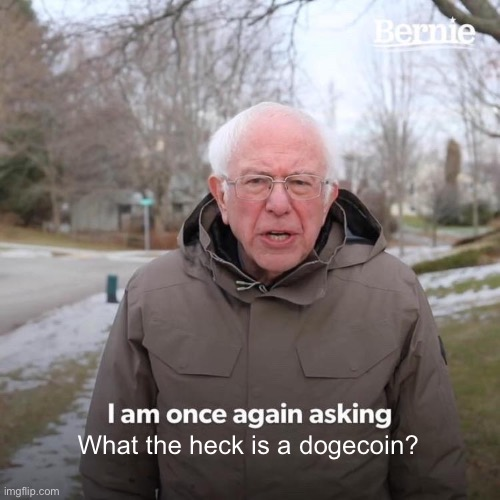 Bernie I Am Once Again Asking For Your Support Meme |  What the heck is a dogecoin? | image tagged in bernie i am once again asking for your support,doge,dogecoin,coin,cryptocurrency,crypto | made w/ Imgflip meme maker