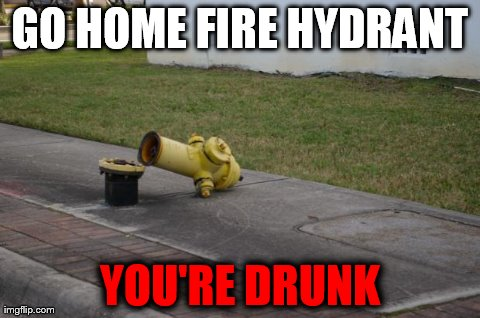 Oh my... | GO HOME FIRE HYDRANT YOU'RE DRUNK | image tagged in fire hydrant,funny,go home youre drunk | made w/ Imgflip meme maker