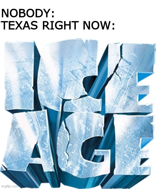 NOBODY: TEXAS RIGHT NOW: | image tagged in texas,ice age | made w/ Imgflip meme maker