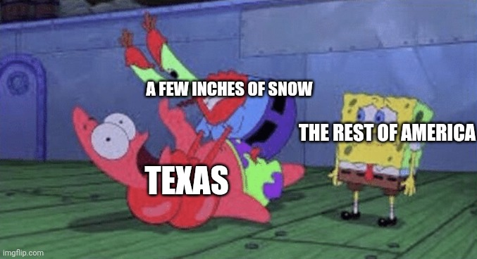 Texas RN be like |  A FEW INCHES OF SNOW; THE REST OF AMERICA; TEXAS | image tagged in mr krabs choking patrick | made w/ Imgflip meme maker