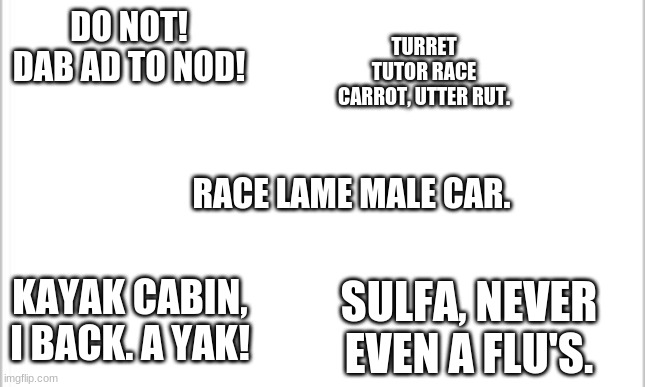 Random palindromes |  DO NOT! DAB AD TO NOD! TURRET TUTOR RACE CARROT, UTTER RUT. RACE LAME MALE CAR. KAYAK CABIN, I BACK. A YAK! SULFA, NEVER EVEN A FLU'S. | image tagged in white background | made w/ Imgflip meme maker