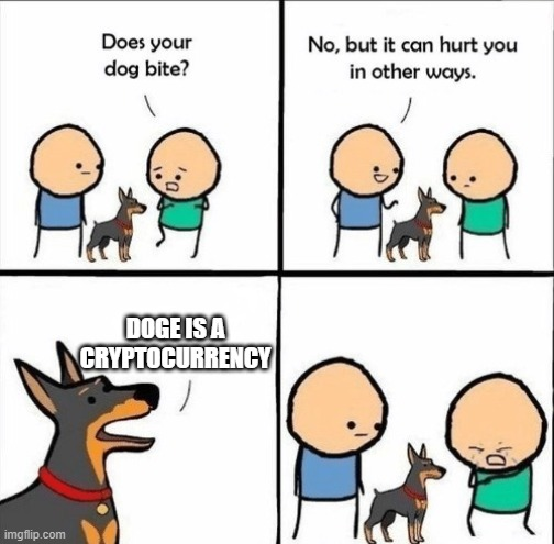 does your dog bite |  DOGE IS A CRYPTOCURRENCY | image tagged in does your dog bite | made w/ Imgflip meme maker