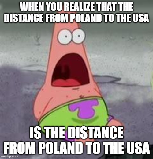 OMG IT IS? -random 8 year old |  WHEN YOU REALIZE THAT THE DISTANCE FROM POLAND TO THE USA; IS THE DISTANCE FROM POLAND TO THE USA | image tagged in suprised patrick | made w/ Imgflip meme maker