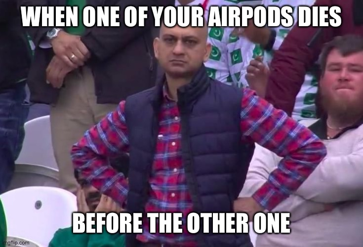 WHEN YOUR AIRPOD DIES |  WHEN ONE OF YOUR AIRPODS DIES; BEFORE THE OTHER ONE | image tagged in angry fan,irritated | made w/ Imgflip meme maker