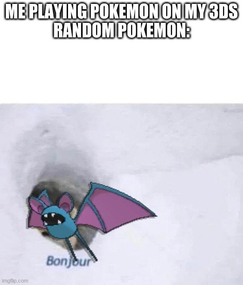 Pokemon |  ME PLAYING POKEMON ON MY 3DS RANDOM POKEMON: | image tagged in bonjour | made w/ Imgflip meme maker