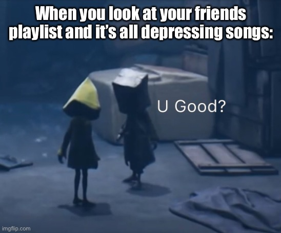 I don't know man, are they good? |  When you look at your friends playlist and it's all depressing songs: | image tagged in mono u good,depression,depressing songs | made w/ Imgflip meme maker