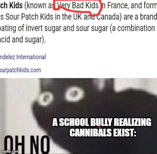 oh dear |  A SCHOOL BULLY REALIZING  CANNIBALS EXIST: | image tagged in sour patch kids,memes,candy | made w/ Imgflip meme maker