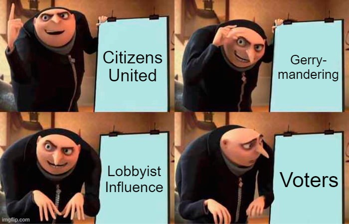 For the People Act - Gru |  Citizens United; Gerry- mandering; Lobbyist Influence; Voters | image tagged in memes,gru's plan | made w/ Imgflip meme maker