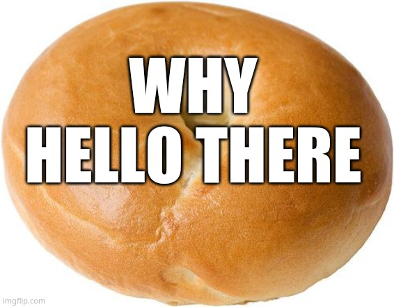 :D |  WHY HELLO THERE | image tagged in bagel | made w/ Imgflip meme maker
