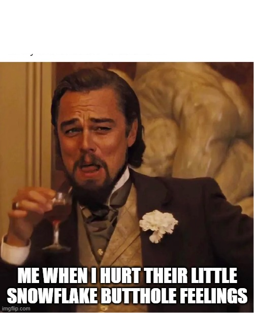 triggered |  ME WHEN I HURT THEIR LITTLE SNOWFLAKE BUTTHOLE FEELINGS | image tagged in leonardo dicaprio,snowflakes,buttburn,butthole,hurt feelings | made w/ Imgflip meme maker