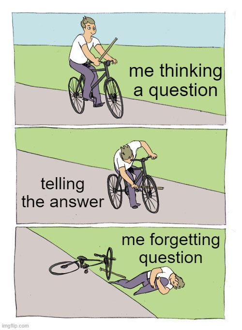 who can relate |  me thinking a question; telling the answer; me forgetting question | image tagged in memes,bike fall | made w/ Imgflip meme maker