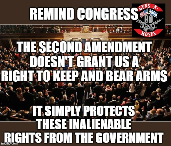 Congress |  REMIND CONGRESS; THE SECOND AMENDMENT DOESN'T GRANT US A RIGHT TO KEEP AND BEAR ARMS; IT SIMPLY PROTECTS THESE INALIENABLE RIGHTS FROM THE GOVERNMENT | image tagged in congress | made w/ Imgflip meme maker