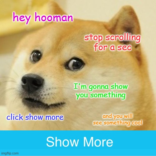 this was very cool meme |  hey hooman; stop scrolling for a sec; I'm gonna show you something; click show more; and you will see something cool | image tagged in memes,doge,funny,show more | made w/ Imgflip meme maker