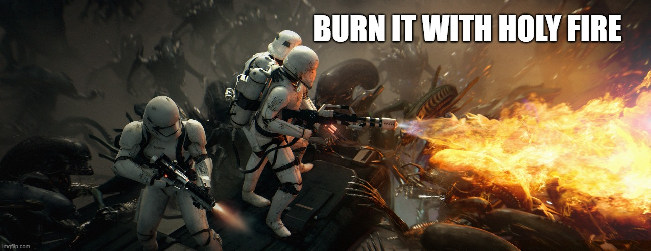 BURN IT WITH HOLY FIRE | image tagged in aliens,star wars,first order,stormtroopers | made w/ Imgflip meme maker