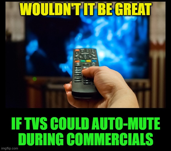 Why are commercials so LOUD |  WOULDN'T IT BE GREAT; IF TVS COULD AUTO-MUTE DURING COMMERCIALS | image tagged in tv,mute,commercials,television,loud,noise | made w/ Imgflip meme maker