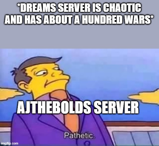 skinner pathetic |  *DREAMS SERVER IS CHAOTIC AND HAS ABOUT A HUNDRED WARS*; AJTHEBOLDS SERVER | image tagged in skinner pathetic | made w/ Imgflip meme maker