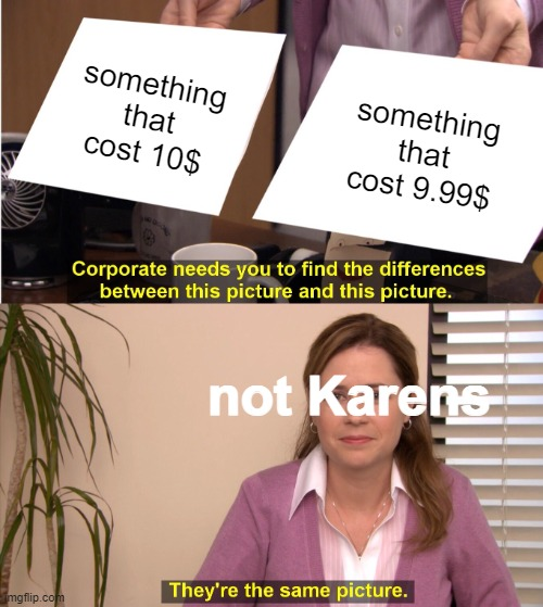 The method of karens |  something that cost 10$; something that cost 9.99$; not Karens | image tagged in memes,they're the same picture | made w/ Imgflip meme maker