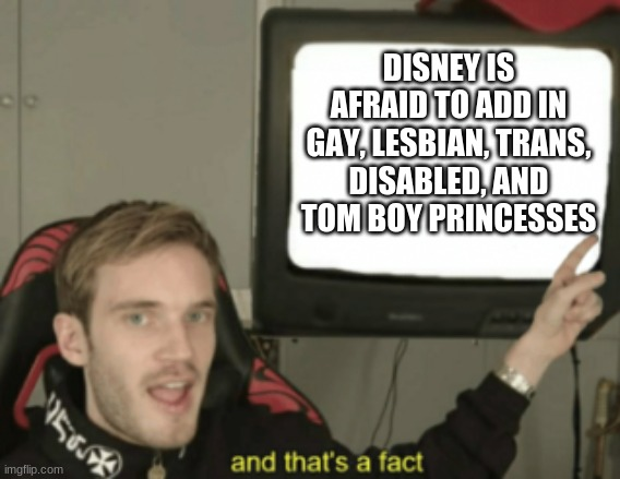 Fight me in court, Disney B***h |  DISNEY IS AFRAID TO ADD IN GAY, LESBIAN, TRANS, DISABLED, AND TOM BOY PRINCESSES | image tagged in and that's a fact,fight me,disney,coward,rights | made w/ Imgflip meme maker