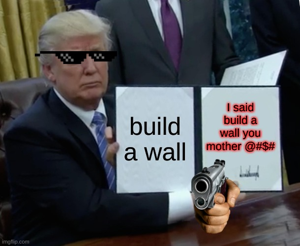 Trump Bill Signing Meme |  build a wall; I said build a wall you mother @#$# | image tagged in memes,trump bill signing | made w/ Imgflip meme maker