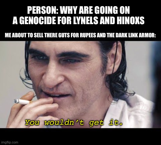 Joker you wouldn't get it |  PERSON: WHY ARE GOING ON A GENOCIDE FOR LYNELS AND HINOXS; ME ABOUT TO SELL THERE GUTS FOR RUPEES AND THE DARK LINK ARMOR:; You wouldn't get it. | image tagged in joker you wouldn t get it | made w/ Imgflip meme maker