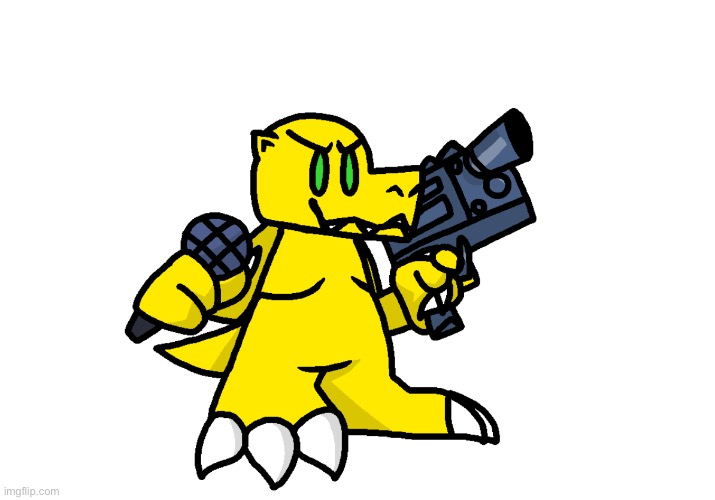"""Agumon with a gun isn't real, he can't hurt you."" 