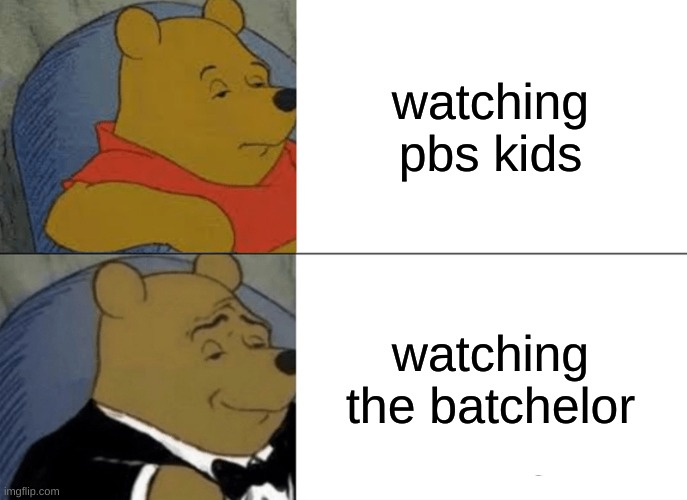 Tuxedo Winnie The Pooh Meme |  watching pbs kids; watching the batchelor | image tagged in memes,tuxedo winnie the pooh | made w/ Imgflip meme maker