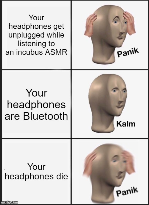 Bluetooth am I right? |  Your headphones get unplugged while listening to an incubus ASMR; Your headphones are Bluetooth; Your headphones die | image tagged in memes,panik kalm panik,asmr | made w/ Imgflip meme maker