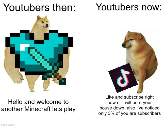 R.I.P the old days of YouTube and Minecraft |  Youtubers then:; Youtubers now:; Hello and welcome to another Minecraft lets play; Like and subscribe right now or I will burn your house down, also I've noticed only 3% of you are subscribers | image tagged in memes,buff doge vs cheems,minecraft | made w/ Imgflip meme maker