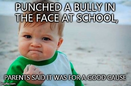 Victory Baby | PUNCHED A BULLY IN THE FACE AT SCHOOL, PARENTS SAID IT WAS FOR A GOOD CAUSE | image tagged in victory baby | made w/ Imgflip meme maker