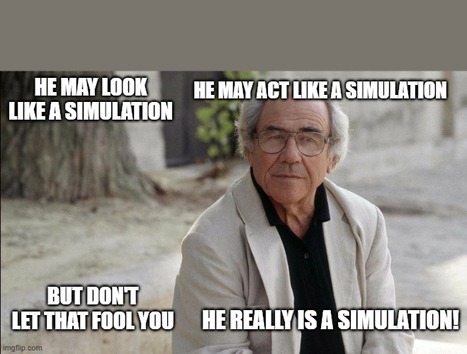 Simulate This! |  HE MAY ACT LIKE A SIMULATION; HE MAY LOOK LIKE A SIMULATION; BUT DON'T LET THAT FOOL YOU; HE REALLY IS A SIMULATION! | image tagged in social media | made w/ Imgflip meme maker