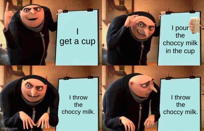 Gru's Plan Meme |  I get a cup; I pour the choccy milk in the cup; I throw the choccy milk. I throw the choccy milk. | image tagged in memes,gru's plan | made w/ Imgflip meme maker