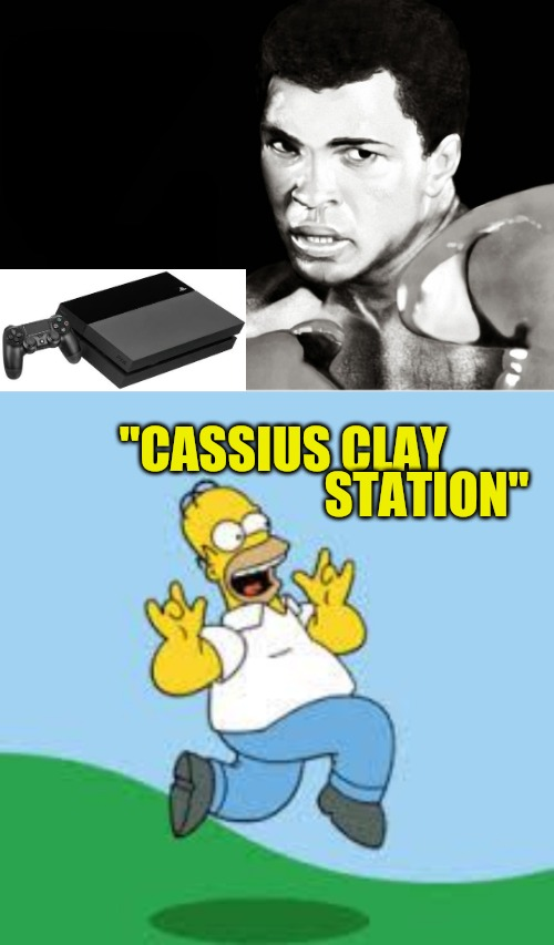 "Word play humour - We love Mohammad Ali |  STATION""; ""CASSIUS CLAY 