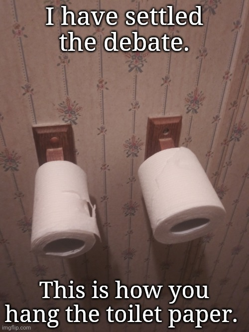 I have settled the debate. This is how you hang the toilet paper. | image tagged in toilet paper | made w/ Imgflip meme maker