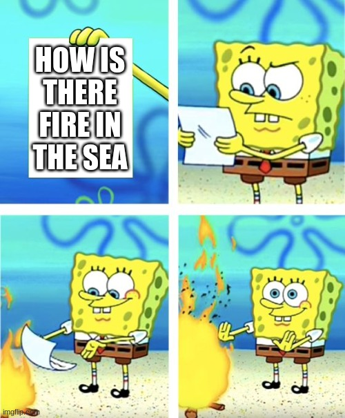 Spongebob Burning Paper |  HOW IS THERE FIRE IN THE SEA | image tagged in spongebob burning paper | made w/ Imgflip meme maker