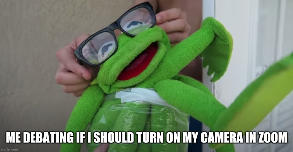 School |  ME DEBATING IF I SHOULD TURN ON MY CAMERA IN ZOOM | image tagged in kermit the frog | made w/ Imgflip meme maker