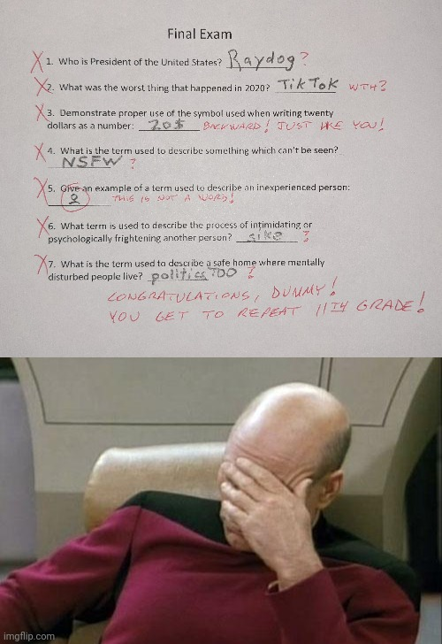 It's easy to spot someone who grew up on imgflip | image tagged in memes,captain picard facepalm,grew up on imgflip,final exam,repeat 11th grade,fail | made w/ Imgflip meme maker