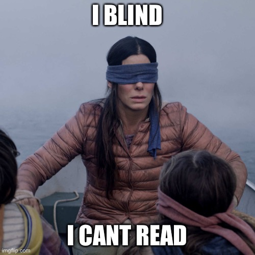 Bird Box Meme | I BLIND I CANT READ | image tagged in memes,bird box | made w/ Imgflip meme maker