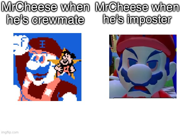 cheese. |  MrCheese when he's crewmate; MrCheese when he's imposter | image tagged in blank white template,among us,imposter,crewmate,memes,mrcheese | made w/ Imgflip meme maker