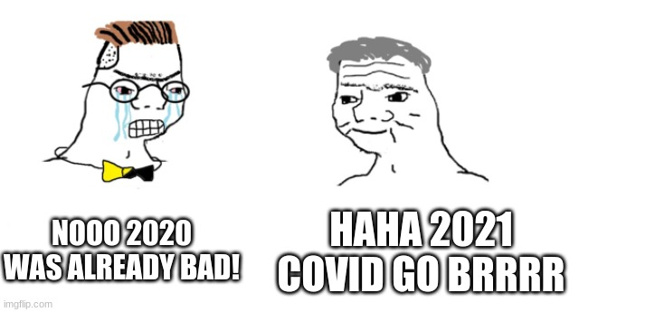 Covid go brrrr |  NOOO 2020 WAS ALREADY BAD! HAHA 2021 COVID GO BRRRR | image tagged in nooo haha go brrr | made w/ Imgflip meme maker