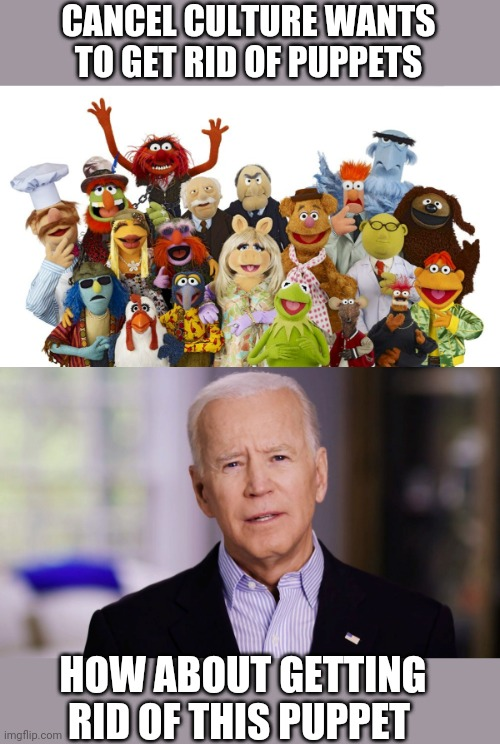 CANCEL CULTURE WANTS TO GET RID OF PUPPETS; HOW ABOUT GETTING RID OF THIS PUPPET | image tagged in muppets,joe biden 2020 | made w/ Imgflip meme maker