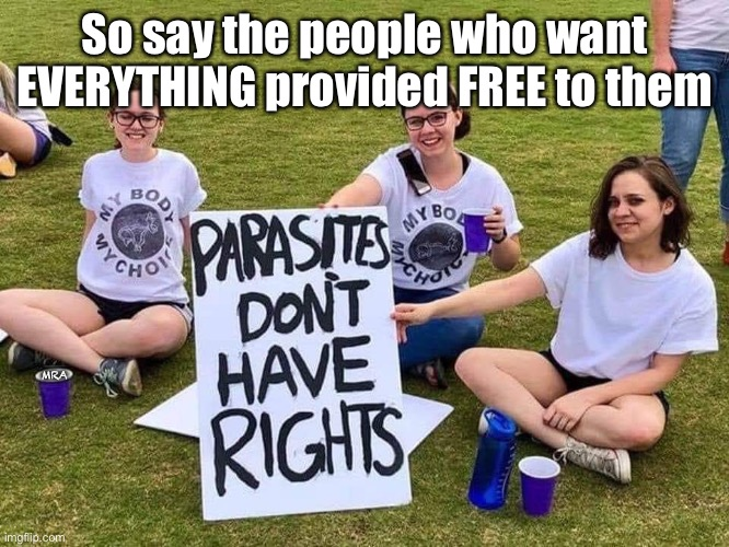 Parasites have no rights |  So say the people who want EVERYTHING provided FREE to them; MRA | image tagged in parasites have no rights,abortion,millenials,proud killers,free stuff | made w/ Imgflip meme maker