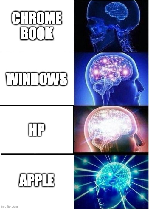 bad computer |  CHROME BOOK; WINDOWS; HP; APPLE | image tagged in memes,expanding brain | made w/ Imgflip meme maker