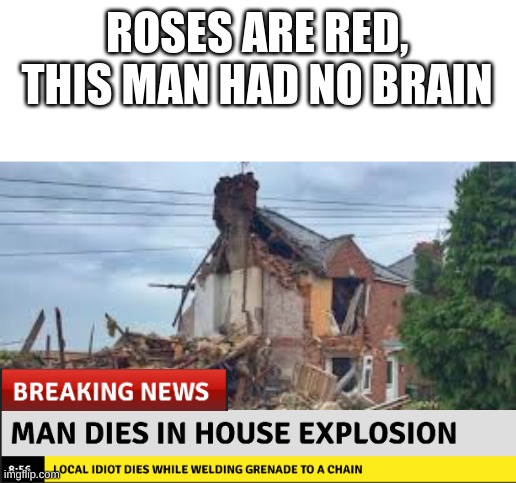 This actually happened. |  ROSES ARE RED, THIS MAN HAD NO BRAIN | image tagged in certified bruh moment,do you are have stupid,do you want to explode | made w/ Imgflip meme maker