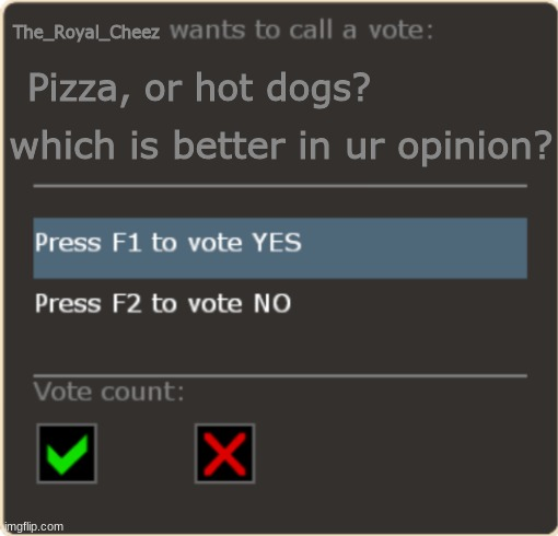 Tf2 Vote Template |  The_Royal_Cheez; Pizza, or hot dogs? which is better in ur opinion? | image tagged in tf2 vote template | made w/ Imgflip meme maker