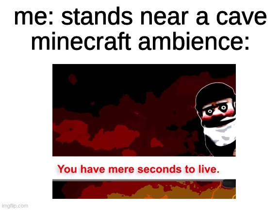 is this true or what? |  me: stands near a cave minecraft ambience: | image tagged in minecraft,horror,music | made w/ Imgflip meme maker