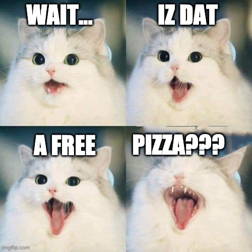 Free Pizza? |  IZ DAT; WAIT... A FREE; PIZZA??? | image tagged in metal cat | made w/ Imgflip meme maker