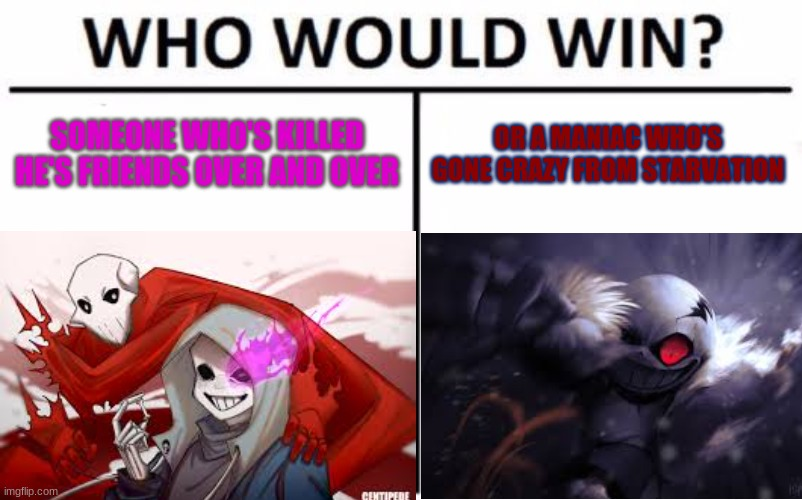 ill let you guys choose |  SOMEONE WHO'S KILLED HE'S FRIENDS OVER AND OVER; OR A MANIAC WHO'S GONE CRAZY FROM STARVATION | made w/ Imgflip meme maker