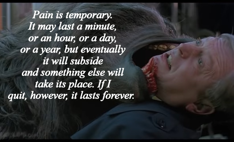 Pain is temporary. It may last a minute, or an hour, or a day, or a year, but eventually it will subside and something else will take its place. If I quit, however, it lasts forever. | image tagged in inspirational quote,american werewolf in london,horror,funny memes | made w/ Imgflip meme maker