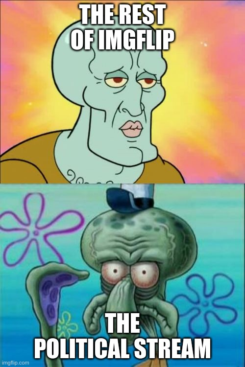 Squidward Meme |  THE REST OF IMGFLIP; THE POLITICAL STREAM | image tagged in memes,squidward,imgflip,political meme,streams | made w/ Imgflip meme maker