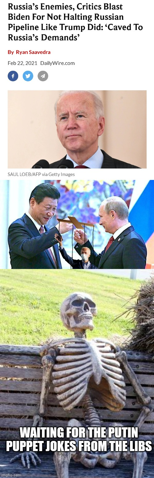 Puppet jokes? |  WAITING FOR THE PUTIN PUPPET JOKES FROM THE LIBS | image tagged in memes,waiting skeleton,biden,xi jinping,putin,putin's puppet | made w/ Imgflip meme maker